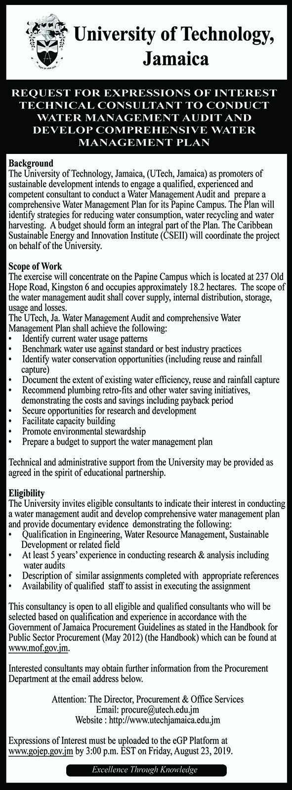 Technical Consultant to Conduct Water Management Audit & plan