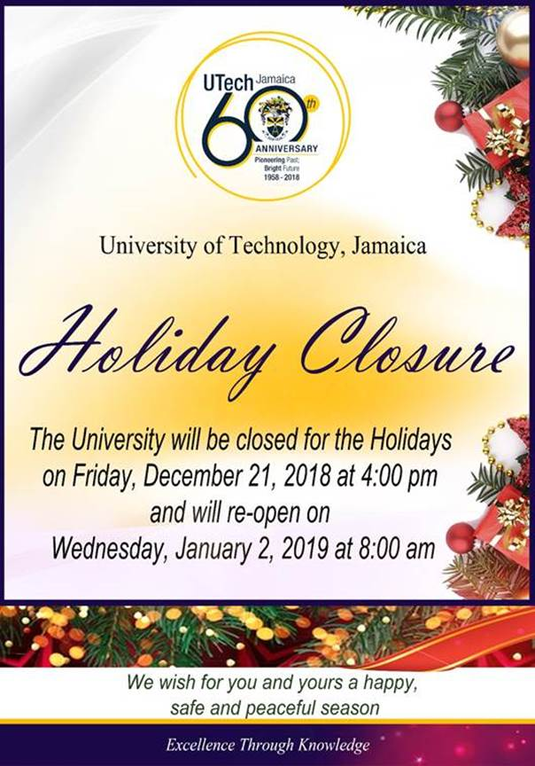 Christmas Holiday Closure 2018