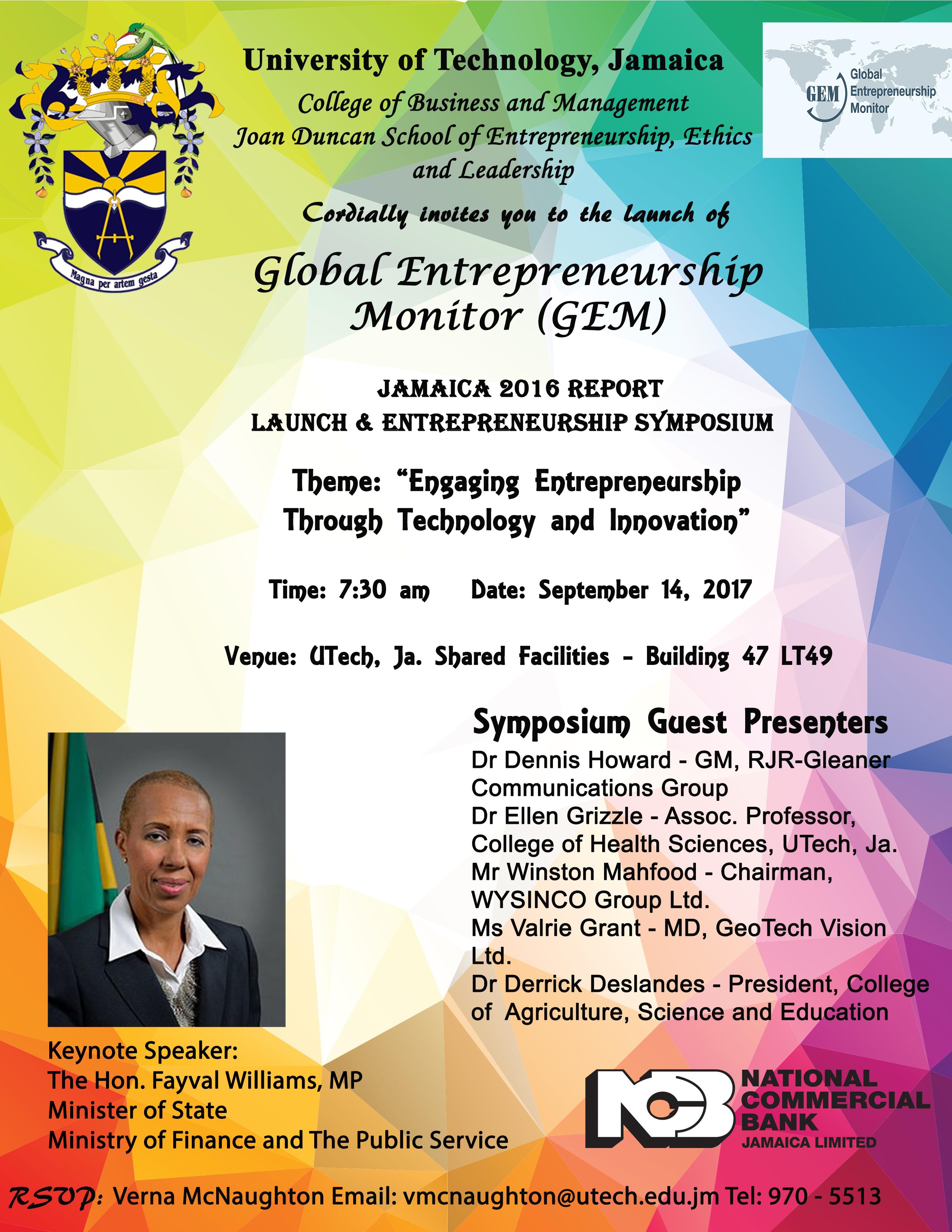 UTech, Jamaica Launches Global Entrepreneurship Monitor (GEM) Jamaica 2016 Report